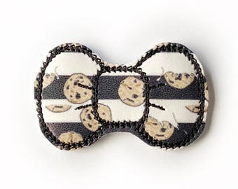 Cookies Embroidery Bow Snap Clip - Faux Leather - Snap Clips - 50mm Clips - 2.5 inches - Embroidery Bow - Hair Bows