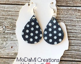 Leather earrings, handmade earrings, genuine leather, nickle free, teardrop earrings, navy and white polka dot, dangle earring, lightweight