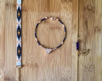 Handmade Bohomian Bracelets Miyuki Delica 3 Pcs Set eaded Dainty Gemstone Gift for Sister, Daughters, Girlfriend, Mothers