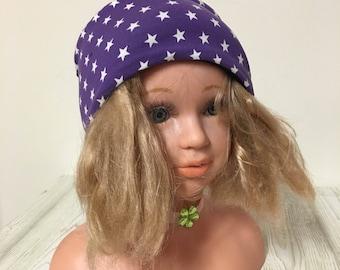 Cotton jersey headband with fleece purple with white stars 48-48inch