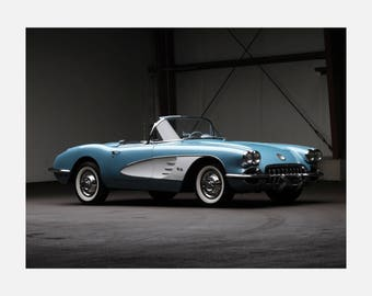 1958 Chevrolet Corvette C1 muscle Poster or Canvas