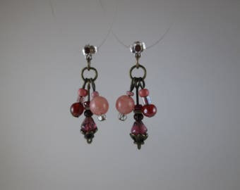 "Glass Beads ""BerrySweet"" Earrings on Silver Posts"