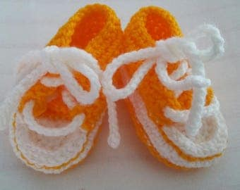 Yellow Crocheted Converse Style Baby Booties