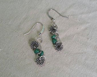 Green and silver earings