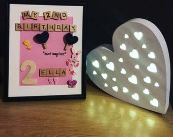 Personalised 'My 2nd Birthday' Scrabble Frame