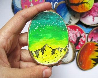 Galaxy Wood Magnet, Wooden Magnets, Gift, Fridge Magnet, Painted Magnet, Hand Painted Magnet, Hand Painted Wood Magnet, Wood Nature Art,