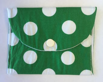Bottle Green Polka Dot Pocket Pouch