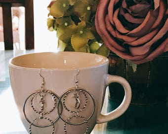 Silver, Dangle & Drop, Triple-Hoop Earrings, With A Moon Charm At The Center