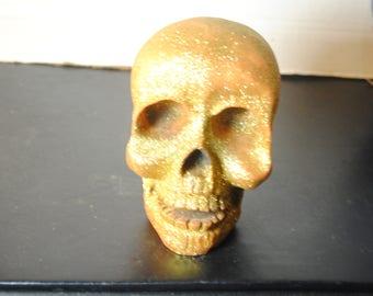 Resin Gold Glitter Skull