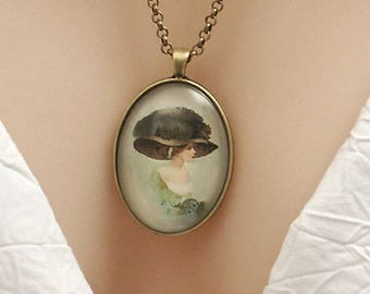 Edwardian lady in Big green hat, Vintage water-colour art, large oval Picture Pendant, 40x30mm, glass dome pendant, cameo
