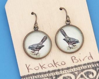 New Zealand Kokako birds, vintage art print, songbird, Earrings, glass dome art, niobium hypo-allergenic