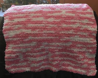 Pink and White Baby Girl Blanket