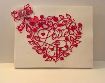 Handmade Valentines Heart and Bow on Canvas