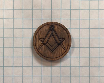 Square and Compass - Wooden Lapel Pin