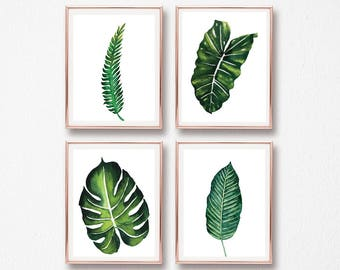 set of 4 botanical leaves