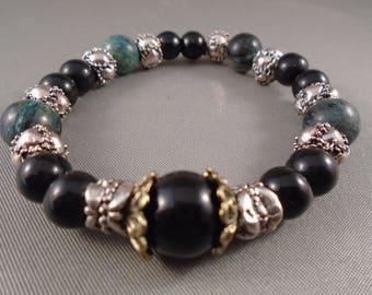 Black, Silver and hazel Green beaded bracelet