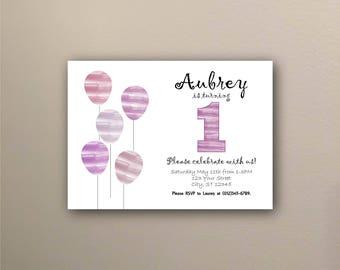 Purple Balloons Birhday Invitation