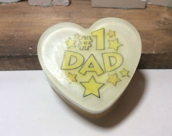 Handmade organic soap, NUMBER ONE DAD image bar soap, birthday gift