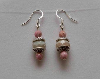 Glass gems on silver plated earrings