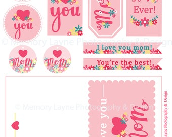 Mother's Day Card and Tag Pack I Love You **INSTANT DOWNLOAD***