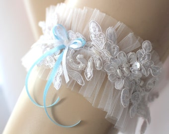 Wedding Garter Something Blue - Made to order - Excellent Gift for the Bride