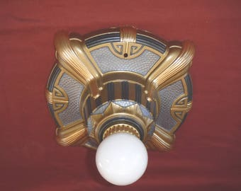 1920s Art Deco One Light Flush Mount Ceiling or Wall Light Fixture