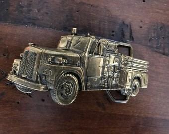 Solid Brass Fire Truck belt buckle 1978