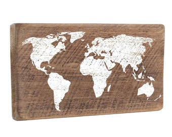 World Map Wood Sign, Wall Art, Wall Decor, Rustic Wood, Wooden Sign, Map, Wooden Map, Wall Mounted, Wood Map, Map Sign, Rustic Map