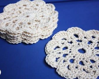 Crochet Flower Beige Cotton Coasters