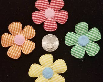 Cute Padded Applique Gingham Large Flower 15 Pieces for sewing/doll making/hairbow/scrapbooking/crafts, etc.