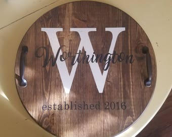 Last name wood serving tray