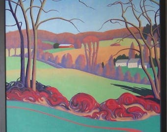 Pastoral, winter scenery, with rolling hills, old farmhouse. Oil on canvas hand made.