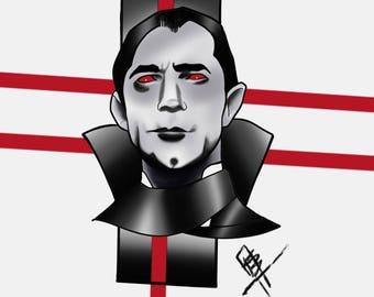 Bela Lugosi, Horror Portrait, Dracula, Custom portrait, Neo traditional, Artist.