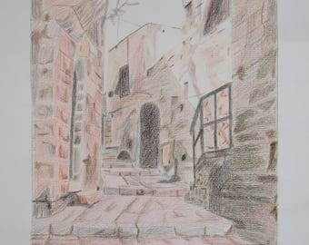 Bethlehem Old City 11 - Pencil Drawing / Colored