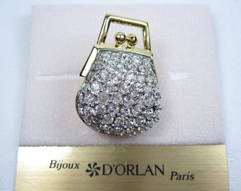 D'Orlan Gold Plated Handbag Brooch with Swarovski Crystals
