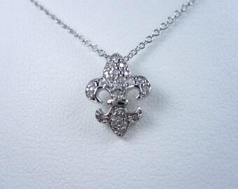 "La Scala Sterling Silver Fleur de Lys Pendant with Cubic Zirconia 16 18"""