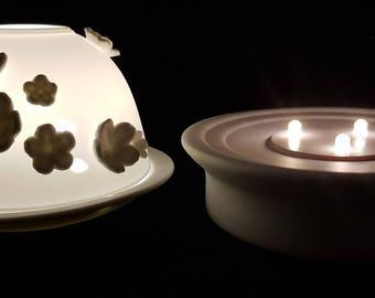 Hand Etched White Porcelain Tealight Candle Holder and LED Porcelain Base- Blossom
