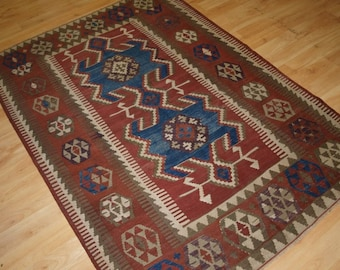 Antique Turkish Konya Region Obruk Kilim of Small Size, Circa 1900, (1 of a pair) 2.