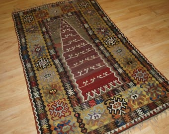 Antique Anatolian Yahyali Prayer Kilim of Superb Design, Circa 1900.
