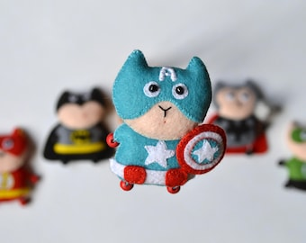 Captain America,little soft superhero,felt supercat,gift for Valentine's day,souvenir for him,Steven Rogers,Marvel Comics, cuddly toy