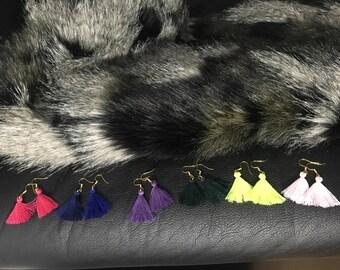 Cute Light Pink Tassel Earrings