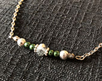 Antique silver chain with delicate beads