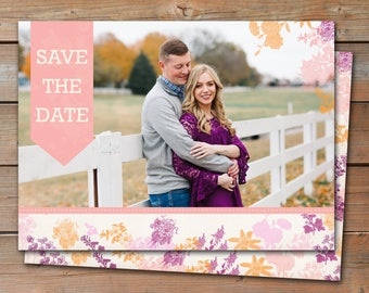 Save the Date Announcement, Save the Date Magnet, Save the Date Postcard, Flowery Save the Date Announcement, Pastel Save the Date Announce