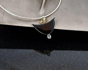 Black Moon Rising Blue Topaz Onyx 925 Silver Necklace