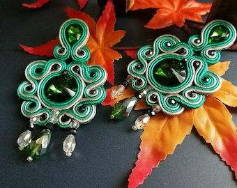 Elegant Emerald Crystal Soutache Earrings Statement Chandelier Dangle Drop Ethnic Boho Chic Wedding Earrings Green Gray