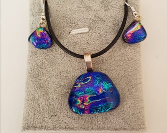 Stunning blue dichroic glass necklace and earring set
