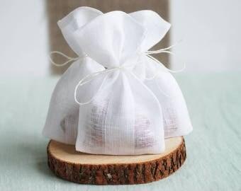 "White linen bags, small ribbon drawstring pouches 5"" x 3"" in white linen, set of 10 linen purses, mini gift bags, weddings favor bag"