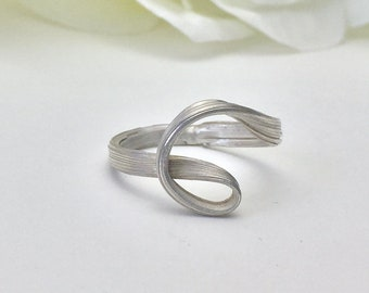 No Stone Engagement Ring, Sterling Silver, wave, nature ring, organic ring, orokoro