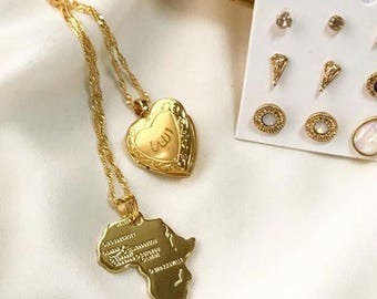 Gold Open Heart Pendant Necklace