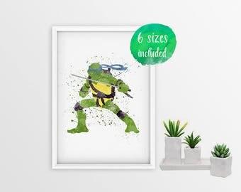 70% OFF Teenage mutant ninja turtle, mutant ninja turtles, leonardo ninja turtle, leonardo print, blue ninja mutant turtle 11002a